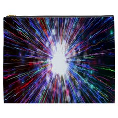 Seamless Animation Of Abstract Colorful Laser Light And Fireworks Rainbow Cosmetic Bag (xxxl)