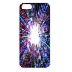 Seamless Animation Of Abstract Colorful Laser Light And Fireworks Rainbow Apple Iphone 5 Seamless Case (white)