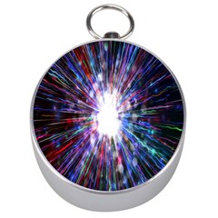 Seamless Animation Of Abstract Colorful Laser Light And Fireworks Rainbow Silver Compasses