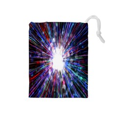 Seamless Animation Of Abstract Colorful Laser Light And Fireworks Rainbow Drawstring Pouches (medium)