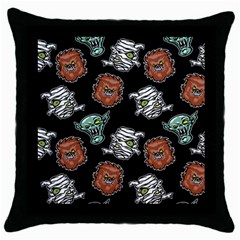 Pattern Halloween Werewolf Mummy Vampire Icreate Throw Pillow Case (black)