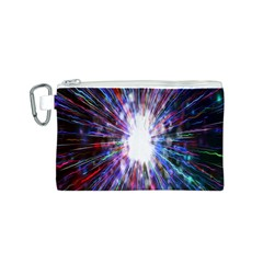 Seamless Animation Of Abstract Colorful Laser Light And Fireworks Rainbow Canvas Cosmetic Bag (s)