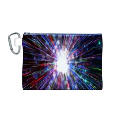 Seamless Animation Of Abstract Colorful Laser Light And Fireworks Rainbow Canvas Cosmetic Bag (m)