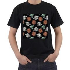 Pattern Halloween Werewolf Mummy Vampire Icreate Men s T Shirt (black) (two Sided)