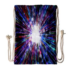 Seamless Animation Of Abstract Colorful Laser Light And Fireworks Rainbow Drawstring Bag (large)