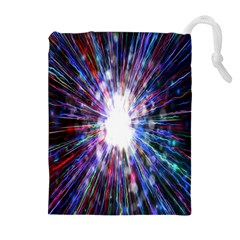 Seamless Animation Of Abstract Colorful Laser Light And Fireworks Rainbow Drawstring Pouches (extra Large)