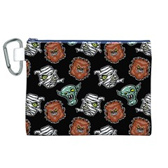 Pattern Halloween Werewolf Mummy Vampire Icreate Canvas Cosmetic Bag (xl)