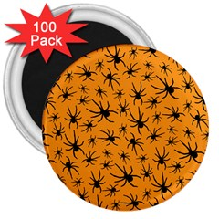 Pattern Halloween Black Spider Icreate 3  Magnets (100 Pack)