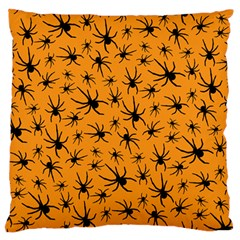 Pattern Halloween Black Spider Icreate Large Flano Cushion Case (two Sides)