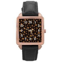 Halloween Spiders Rose Gold Leather Watch
