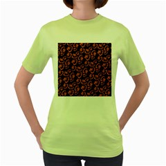 Pattern Halloween Jackolantern Women s Green T Shirt