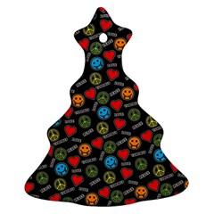 Pattern Halloween Peacelovevampires  Icreate Christmas Tree Ornament (two Sides)