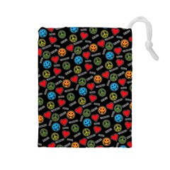 Pattern Halloween Peacelovevampires  Icreate Drawstring Pouches (large)