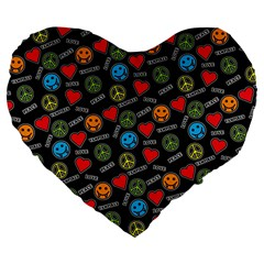 Pattern Halloween Peacelovevampires  Icreate Large 19  Premium Flano Heart Shape Cushions