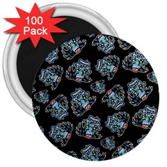 Pattern Halloween Zombies Brains 3  Magnets (100 Pack)
