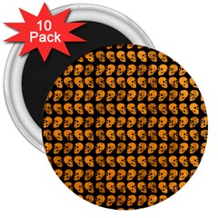 Halloween Color Skull Heads 3  Magnets (10 Pack)