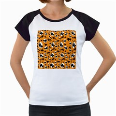 Pattern Halloween Black Cat Hissing Women s Cap Sleeve T