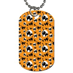 Pattern Halloween Black Cat Hissing Dog Tag (two Sides)