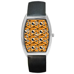 Pattern Halloween Black Cat Hissing Barrel Style Metal Watch