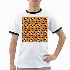 Pattern Halloween Black Cat Hissing Ringer T Shirts