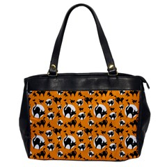 Pattern Halloween Black Cat Hissing Office Handbags