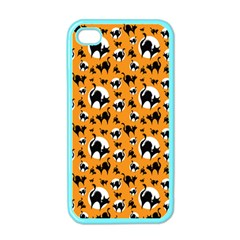 Pattern Halloween Black Cat Hissing Apple Iphone 4 Case (color)