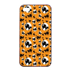 Pattern Halloween Black Cat Hissing Apple Iphone 4/4s Seamless Case (black)