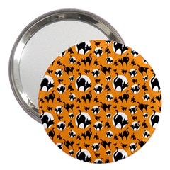 Pattern Halloween Black Cat Hissing 3  Handbag Mirrors