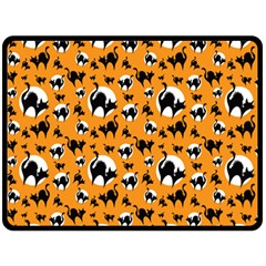 Pattern Halloween Black Cat Hissing Double Sided Fleece Blanket (large)