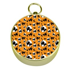 Pattern Halloween Black Cat Hissing Gold Compasses