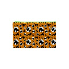 Pattern Halloween Black Cat Hissing Cosmetic Bag (xs)