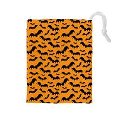 Pattern Halloween Bats  Icreate Drawstring Pouches (large)