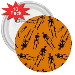 Halloween Skeletons  3  Buttons (10 Pack)