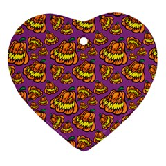 Halloween Colorful Jackolanterns  Ornament (heart)