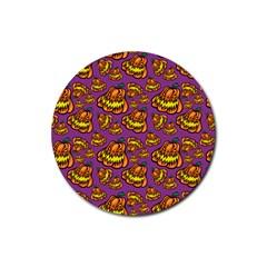 Halloween Colorful Jackolanterns  Rubber Round Coaster (4 Pack)