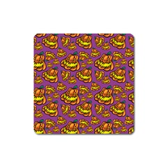 Halloween Colorful Jackolanterns  Square Magnet