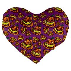 Halloween Colorful Jackolanterns  Large 19  Premium Heart Shape Cushions
