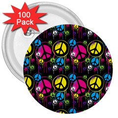 Peace Drips Icreate 3  Buttons (100 Pack)