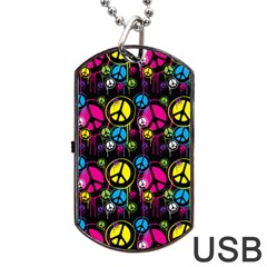 Peace Drips Icreate Dog Tag Usb Flash (two Sides)