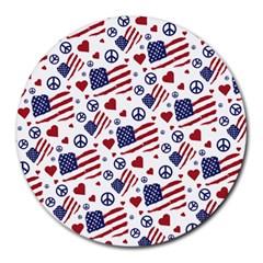 Peace Love America Icreate Round Mousepads