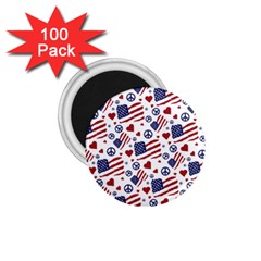 Peace Love America Icreate 1 75  Magnets (100 Pack)