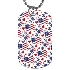 Peace Love America Icreate Dog Tag (two Sides)