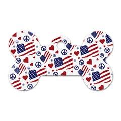 Peace Love America Icreate Dog Tag Bone (one Side)