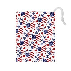 Peace Love America Icreate Drawstring Pouches (large)