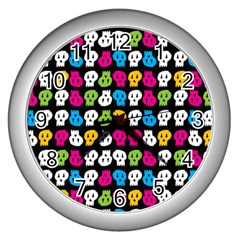 Pattern Painted Skulls Icreate Wall Clocks (silver)