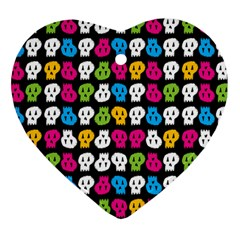 Pattern Painted Skulls Icreate Heart Ornament (two Sides)