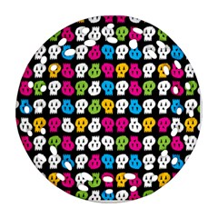 Pattern Painted Skulls Icreate Round Filigree Ornament (two Sides)