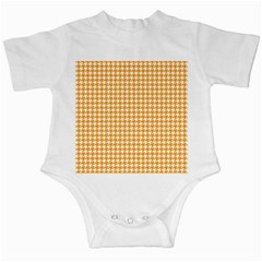 Friendly Houndstooth Pattern, Orange Infant Creepers
