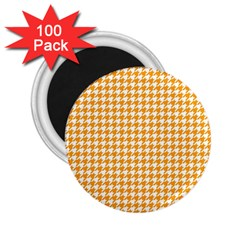 Friendly Houndstooth Pattern, Orange 2 25  Magnets (100 Pack)