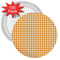Friendly Houndstooth Pattern, Orange 3  Buttons (100 Pack)